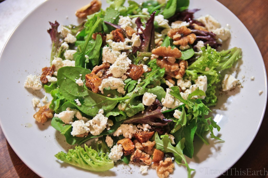 Honey baked fig, goat cheese and walnut salad with lemon myrtle ...