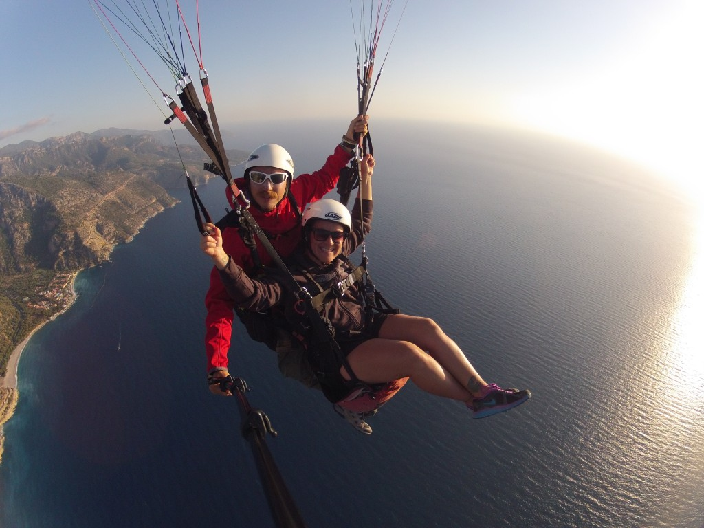 Paragliding over the blue lagoon in Oludeniz, Turkey