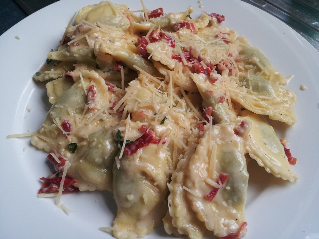 Ricotta Ravioli with Sun-dried Tomato & Sage Cream Sauce